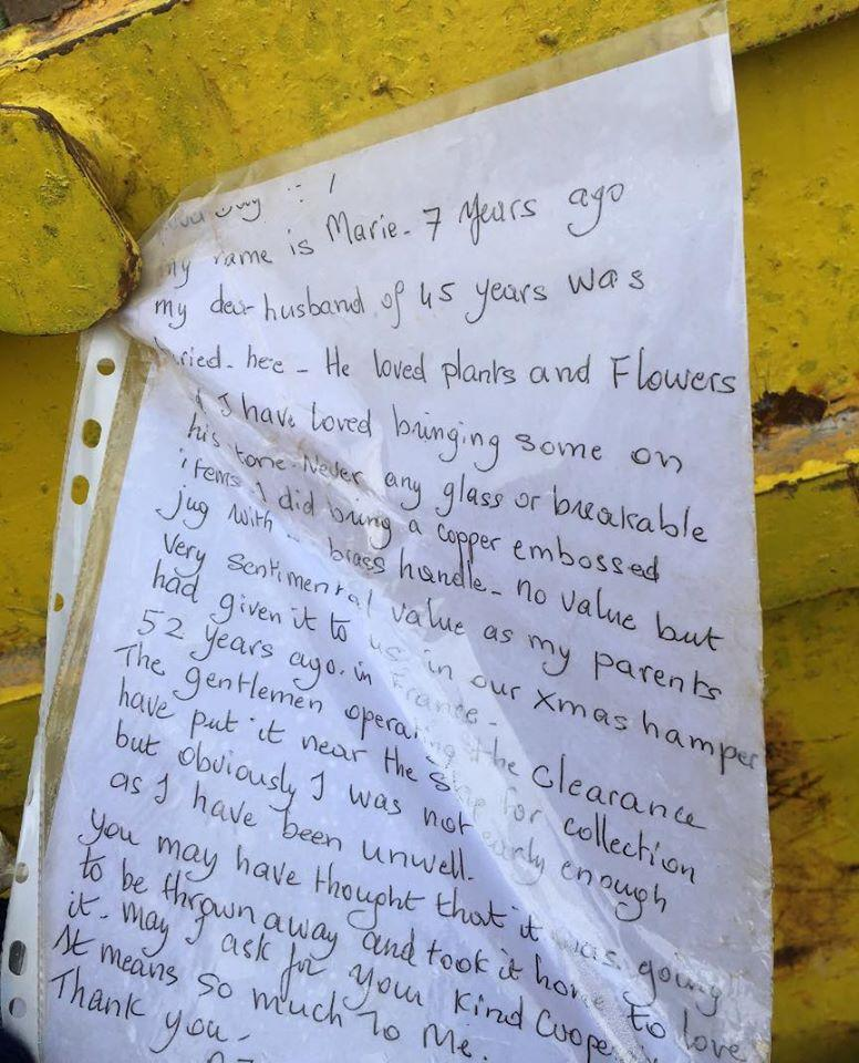One mourner left a note pleading for her lost precious keepsakes that were removed from her husband's grave (Facebook)