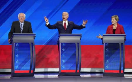Senator Bernie Sanders, former Vice President Joe Biden and Senator Elizabeth Warren debate during the 2020 Democratic U.S. presidential debate in Houston