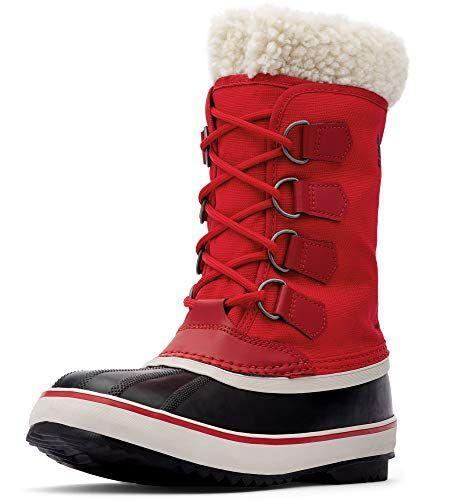 """<p><strong>Sorel</strong></p><p>amazon.com</p><p><strong>$124.35</strong></p><p><a href=""""https://www.amazon.com/dp/B07KJZNDMQ?tag=syn-yahoo-20&ascsubtag=%5Bartid%7C2164.g.32598715%5Bsrc%7Cyahoo-us"""" rel=""""nofollow noopener"""" target=""""_blank"""" data-ylk=""""slk:Shop Now"""" class=""""link rapid-noclick-resp"""">Shop Now</a></p><p>These kicks include a removable felt inner boot for extra warmth. They come in a variety of colors, but this bold red would really make a statement!</p>"""