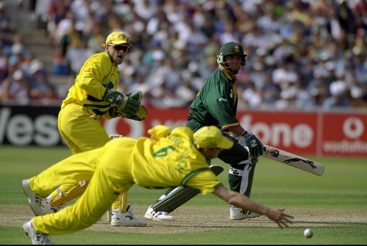 17 Jun 1999:  Jacques Kallis of South Africa steers one just wide of Mark Waugh of Australia in the World Cup semi-final at Edgbaston in Birmingham, England. The match finished a tie as Australia went through after finishing higher in the Super Six table. \ Mandatory Credit: Ross Kinnaird /Allsport