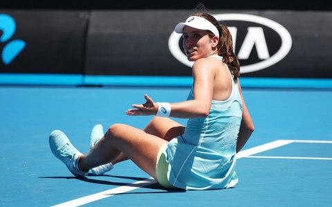 Konta slips to the floor - Credit: Getty Images