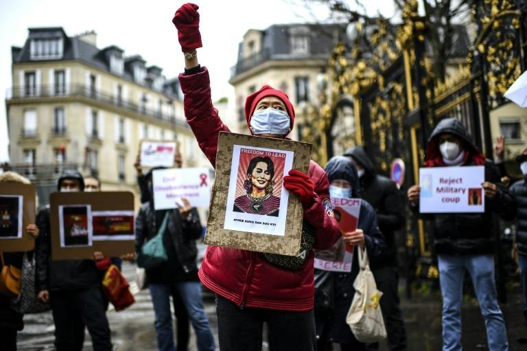 In far-off Paris demonstrators, including Myanmar nationals, protested outside the embassy of Myanmar demanding an end to the coup