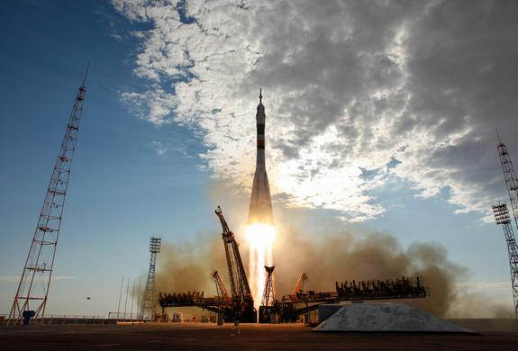 The Soyuz TMA-05M rocket launches from the Baikonur Cosmodrome in Kazakhstan on July 15, 2012.