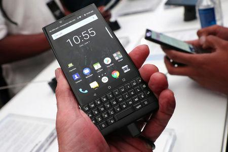 The new BlackBerry Key2 smartphone is seen at a product launch event for the device in Manhattan in New York