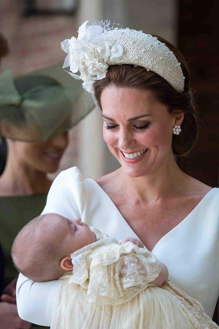 <p>For the christening of Prince Louis, the Duchess of Cambridge wore a low up-do and a hat-meets-headband unlike anything we've seen before.</p>