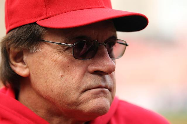 ST LOUIS, MO - OCTOBER 20: Manager Tony La Russa of the St. Louis Cardinals looks on prior to Game Two of the MLB World Series against the Texas Rangers at Busch Stadium on October 20, 2011 in St Louis, Missouri. (Photo by Ezra Shaw/Getty Images)