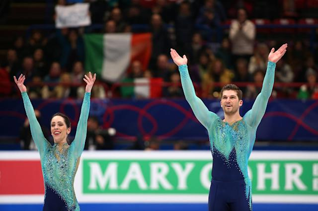 Figure Skating - World Figure Skating Championships - The Mediolanum Forum, Milan, Italy - March 22, 2018 Italy's Nicole Della Monica and Matteo Guarise during the Pairs Free Skating REUTERS/Alessandro Bianchi