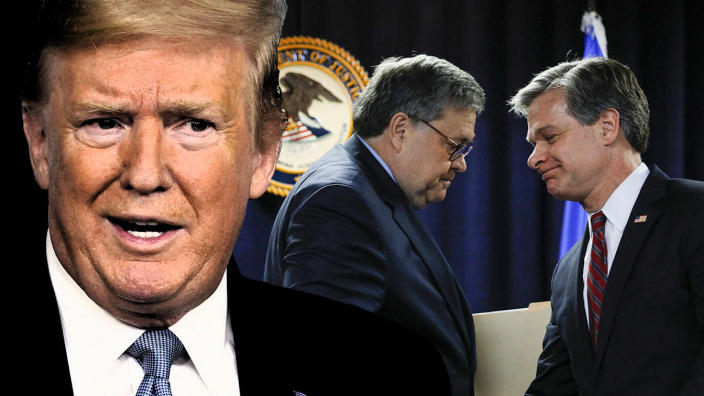 President Trump, Attorney General William Barr and FBI Director Christopher Wray. (Photo illustration: Yahoo News; photos: AP, Bill Pugliano/Getty Images)