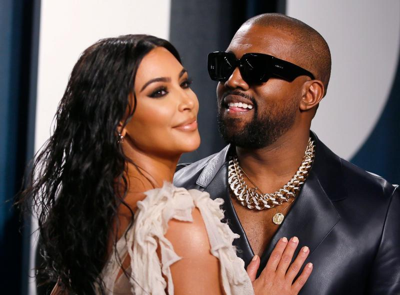 Kim Kardashian and Kanye West attend the Vanity Fair Oscar party in Beverly Hills during the 92nd Academy Awards, in Los Angeles, California, U.S., February 9, 2020. REUTERS/Danny Moloshok