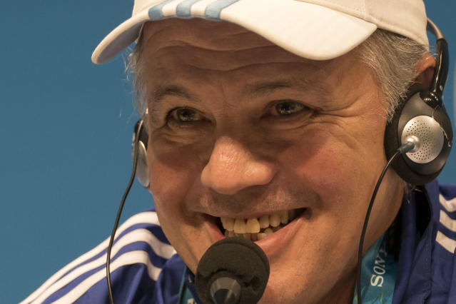 Argentina's head coach Alejandro Sabella answer to questions during a news conference the day before the World Cup final soccer match between Germany and Argentina at the Maracana Stadium in Rio de Janeiro, Brazil, Saturday, July 12, 2014. (AP Photo/Felipe Dana)