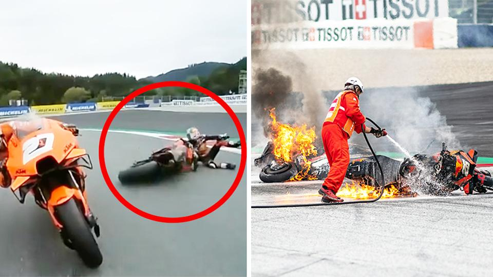 Dani Pedrosa (pictured left) fell of his bike before Lorenzo Savadori crashed into it sparking flames (pictured right) at the Styrian GP.