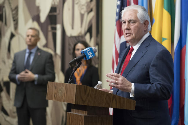 U.S. Secretary of State Rex Tillerson speaks to reporters after a high-level Security Council meeting on the situation in North Korea on Dec. 15, 2017, at United Nations headquarters. (Photo: Mary Altaffer/AP)