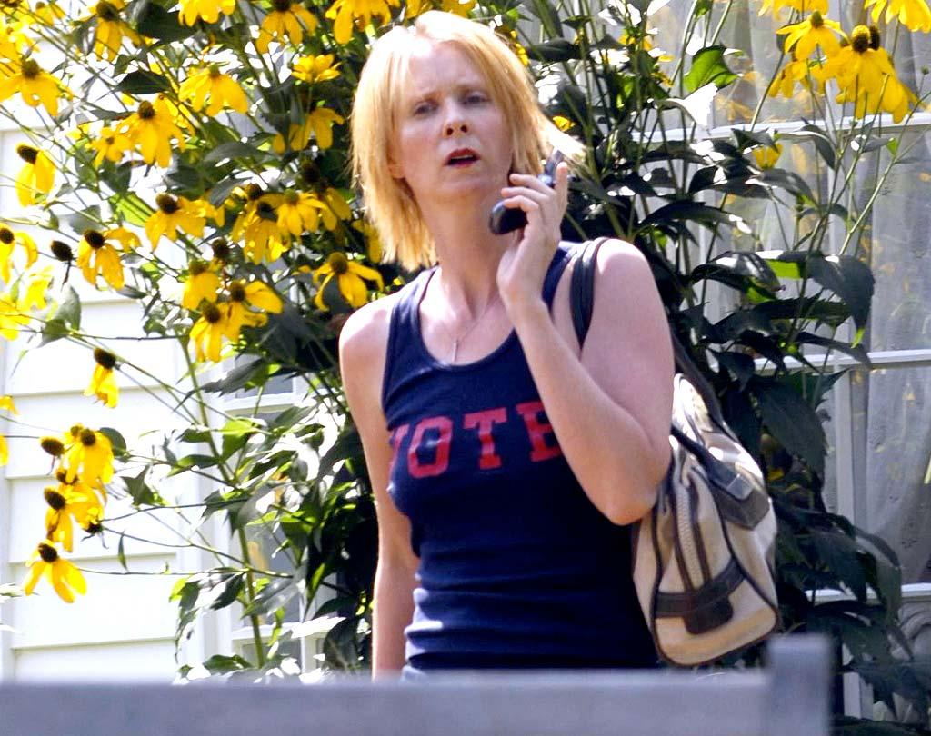 """Hopefully """"SATC"""" star Cynthia Nixon is on her way to the salon. Her drab and dry 'do is in dire need of a hot oil treatment. <a href=""""http://www.x17online.com"""" target=""""new"""">X17 Online</a> - August 7, 2008"""