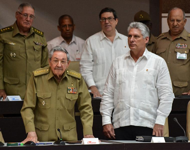 Cuban Vice President Miguel Diaz-Canel, on the right in this 2017 file photo, is expected to be selected Thursday to succeed President Raul Castro, left, ending nearly 60 years of rule by Castro and his older brother Fidel (AFP Photo/STR)