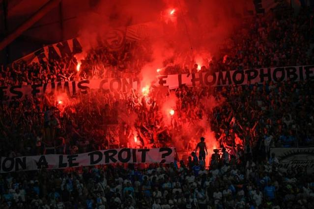 Several matches have already been interrupted in Ligue 1 this season due to homophobic chants and banners (AFP Photo/CHRISTOPHE SIMON)