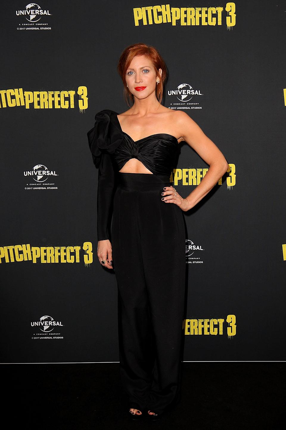 <p>Brittany Snow flashed her midriff in a cool cutout jumpsuit. (Photo: Getty Images) </p>