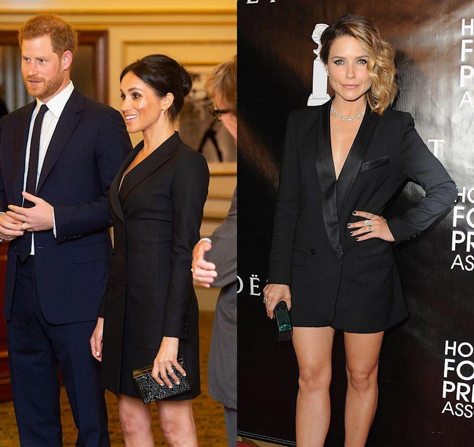 "<p>It was the dress heard around the world when Meghan was accused of <a href=""https://www.harpersbazaar.com.au/fashion/meghan-markle-trooping-the-colour-2018-protocol-16704"" rel=""nofollow noopener"" target=""_blank"" data-ylk=""slk:breaking royal protocol"" class=""link rapid-noclick-resp"">breaking royal protocol</a> in this <a href=""https://www.harpersbazaar.com/celebrity/latest/a22864875/meghan-markle-tuxedo-dress-hamilton-gala-princess-diana/"" rel=""nofollow noopener"" target=""_blank"" data-ylk=""slk:Judith & Charles mini tuxedo dress"" class=""link rapid-noclick-resp"">Judith & Charles mini tuxedo dress</a> in 2018. Actress Sophia Bush wore a similar style to the Hollywood Foreign Press Awards. </p>"