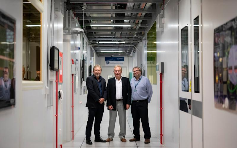 Professor of Silicon Photonics Graham Reed Director Professor Sir David Payne and Deputy Director David Richardson at the Optoelectronics Research Centre University of Southampton in Hampshire - Christopher Pledger