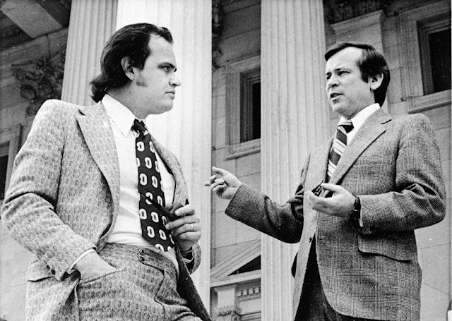 <p>Sen. Howard Baker, right, confers with minority counselor for the Senate Watergate Committee Fred Thompson on the steps of the Capitol, May 16, 1973. (Photo: AP) </p>