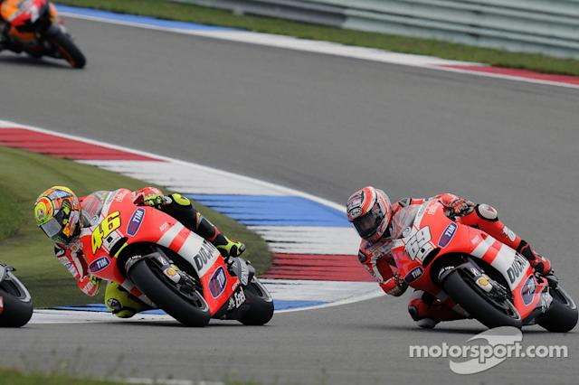 """Valentino Rossi and Nicky Hayden <span class=""""copyright"""">Ducati Corse</span>"""