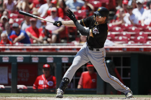 Pittsburgh Pirates' Austin Meadows hits a single off Cincinnati Reds starting pitcher Luis Castillo in the second inning of a baseball game, Thursday, May 24, 2018, in Cincinnati. (AP Photo/John Minchillo)