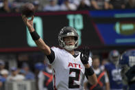 Atlanta Falcons quarterback Matt Ryan passes during the first half of an NFL football game against the New York Giants, Sunday, Sept. 26, 2021, in East Rutherford, N.J. (AP Photo/Bill Kostroun)