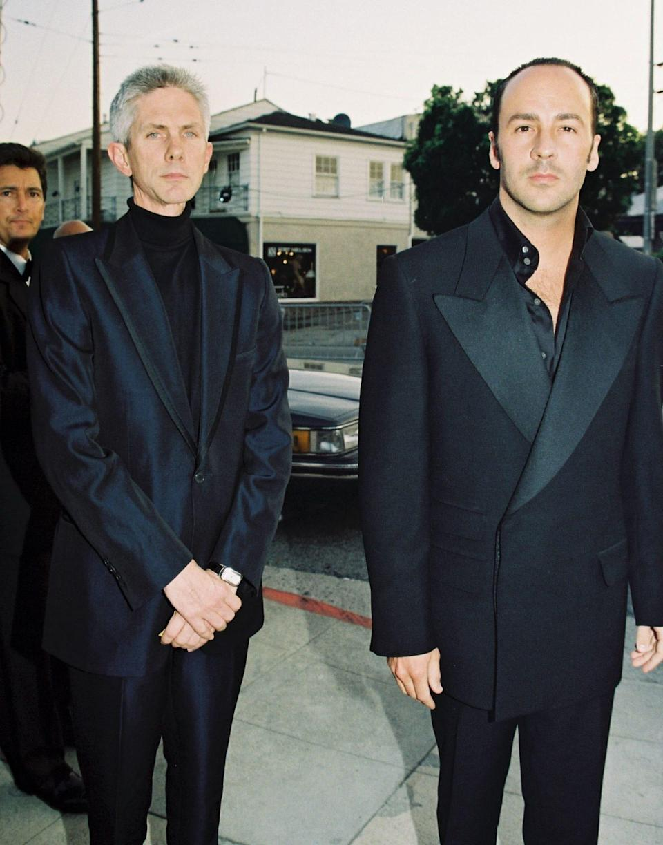 Slim and with piercing blue eyes, Buckley could appear an enigmatic figure beside the superstar designer Tom Ford (here, in 1997 at the Vanity Fair Oscar Party, Hollywood - Eric Charbonneau/BEImages/Shutterstock