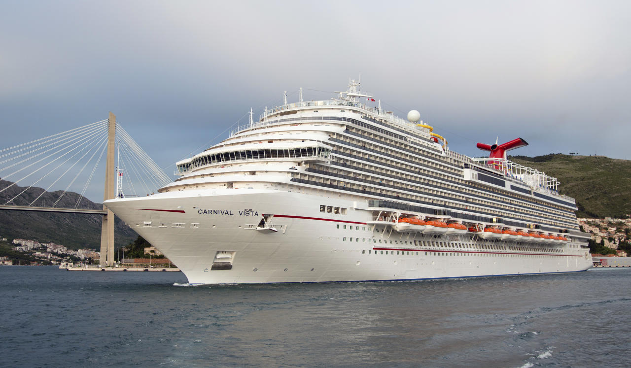 In this May 3, 2016 photo provided by Carnival Cruise Line, the new Carnival Vista, sailing on its maiden voyage, departs Dubrovnik, Croatia, on a 13-day Mediterranean cruise. The largest ship in Miami-based Carnival's fleet, Carnival Vista on Wednesday, Oct. 12, 2016, was named the year's best new ship by Cruise Critic, the cruise review website. The ship is slated to arrive in New York City Nov. 3 to begin a series of cruises from there. (Andy Newman/Carnival Cruise Line via AP)