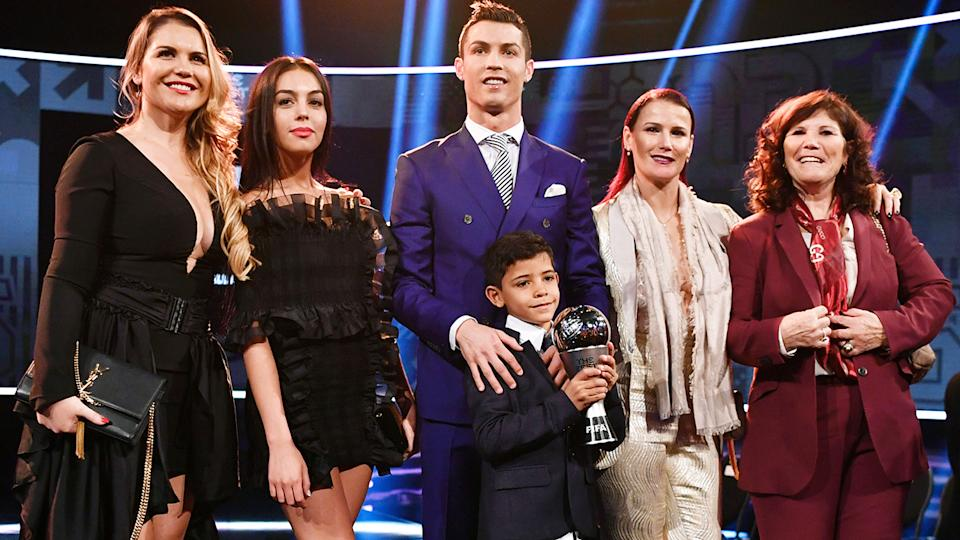 Cristiano Ronaldo, pictured here with his family at the 2017 FIFA Awards.
