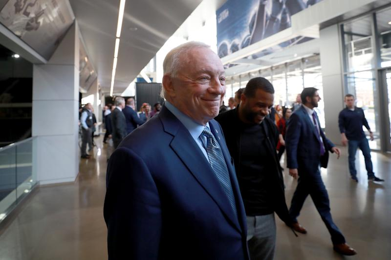 Jerry Jones' 357-foot yacht is in Miami for Super Bowl LIV. (Tom Pennington/Getty Images)