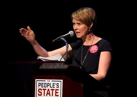 "FILE PHOTO: Actress Cynthia Nixon speaks during the ""People's State of the Union"" event in Manhattan"