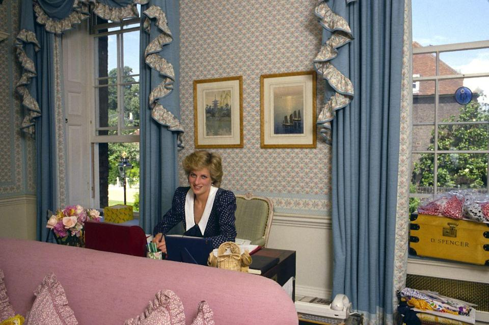 <p>Princess Diana hired interior designer Dudley Poplak to decorate the apartment's three floors in a way that honored the palace's 17th century architecture while allowing her to express her own personal style and penchant for pastels.</p>
