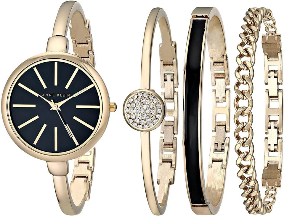 <p>Upgrade her wrist game with this gorgeous <span>Anne Klein Women's AK/1470GBST Gold-Tone Watch and Bracelet Set</span> ($79).</p>