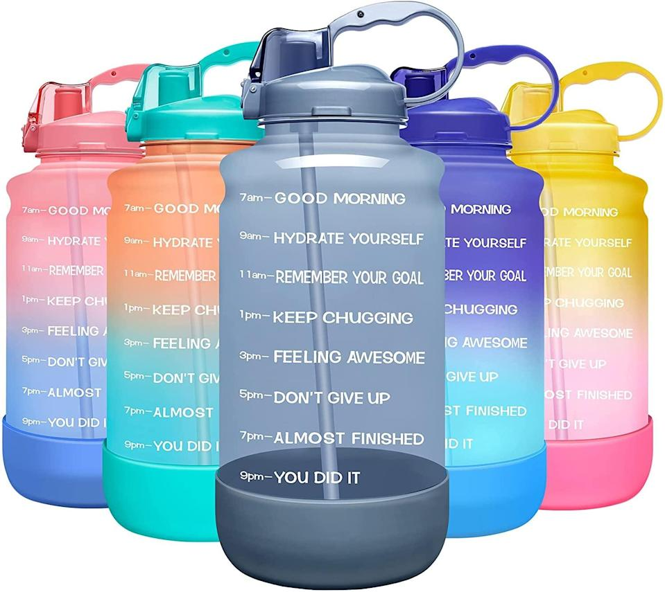 <p><span>Elvira Large 1 Gallon Motivational Time Marker Water Bottle with Straw &amp; Protective Silicone Boot</span> ($17, originally $21)</p>