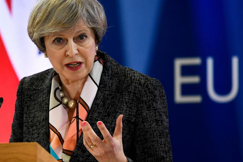 Britain's Prime Minister Theresa May speaks at a news conference during an EU summit in Brussels: REUTERS