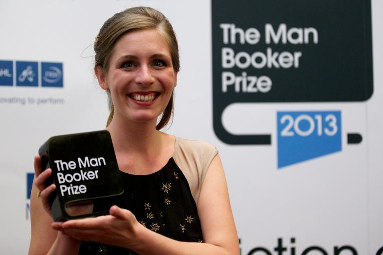 New Zealand author Eleanor Catton is awarded the 2013 Man Booker Prize for Fiction for her book 'The Luminaries' on October 15, 2013 in London