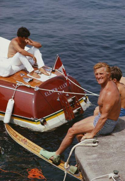 <p>Kirk Douglas smiles at the camera as he prepares for an afternoon of waterskiing in Antibes, France in 1969. </p>