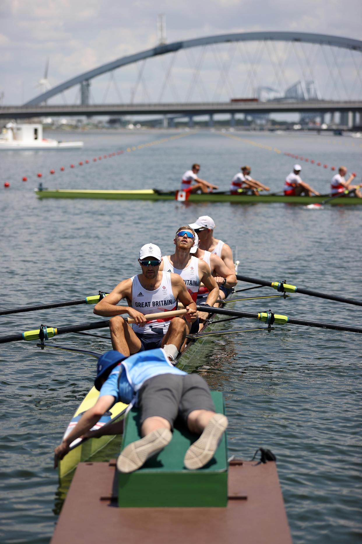 TOKYO, JAPAN - JULY 24:  (R-L) Oliver Cook, Matthew Rossiter, Rory Gibbs and Sholto Carnegie of Team Great Britain compete during the Men's Four Heat 2 on day one of the Tokyo 2020 Olympic Games at Sea Forest Waterway on July 24, 2021 in Tokyo, Japan. (Photo by Naomi Baker/Getty Images)