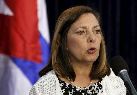 U.S. Division of the Ministry of Foreign Affairs Director General Josefina Vidal speaks at a news conference in Washington