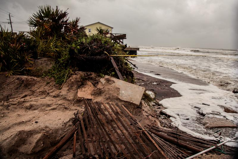 Beach erosion and debris are seen due to Hurricane Dorian as the A1A coastal route of Vilano Beach is closed, in St. Augustine, Florida, U.S., September 4, 2019. REUTERS/Maria Alejandra Cardona