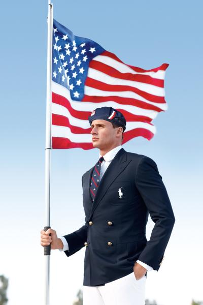 This product image released by Ralph Lauren shows U.S. Olympic swimmer Ryan Lochte modeling the the official Team USA Opening Ceremony Parade Uniform. As an official outfitter of the U.S. Olympic and Paralympic Teams, Ralph Lauren has designed Team USA's Official Opening and Closing Ceremony Parade Uniforms as well as a unique collection of village wear apparel and accessories which embodies the spirit of American athleticism and sportsmanship. (AP Photo/Ralph Lauren)