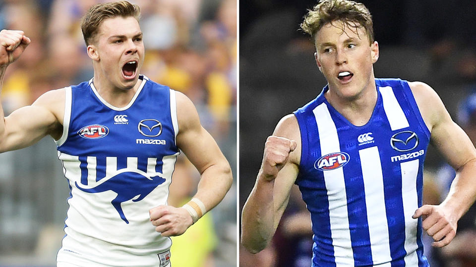 Cameron Zurhaar and Nick Larkey, pictured here in action for North Melbourne.