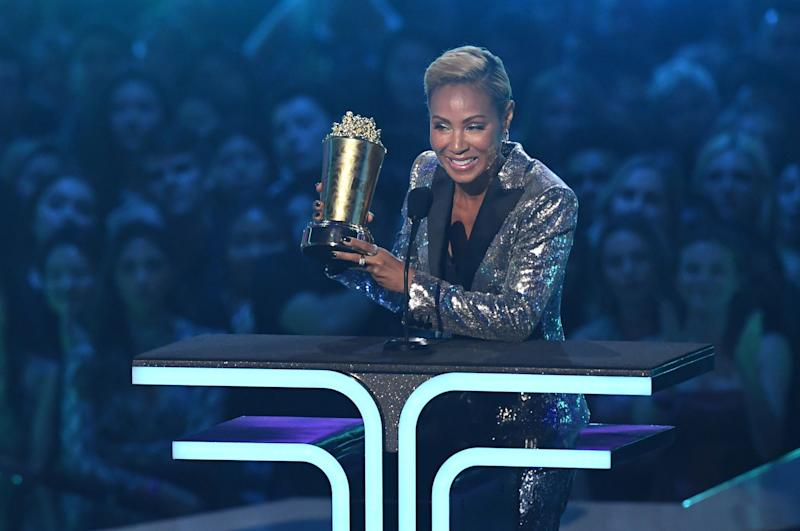 Jada Pinkett Smith accepts the Trailblazer Award onstage during the 2019 MTV Movie & TV Awards. (Photo: VALERIE MACON via Getty Images)