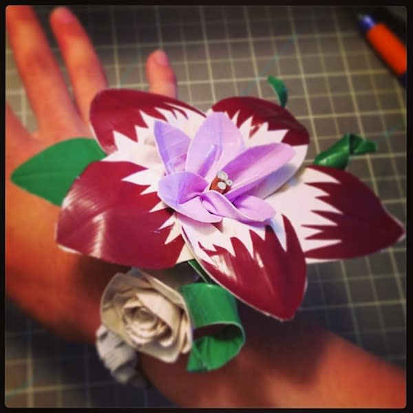 """<div class=""""caption-credit""""> Photo by: ducttapeetc</div><div class=""""caption-title""""></div>We've seen duct tape gowns, but this is the first duct tape corsage!"""