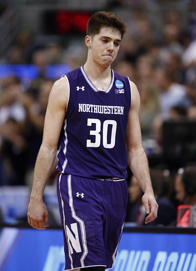 <p>Northwestern guard Bryant McIntosh (30)reacts afterbeing defeated by Gonzaga after a second-round college basketball game in the men's NCAA Tournament, Saturday, March 18, 2017, in Salt Lake City. (AP Photo/George Frey) </p>