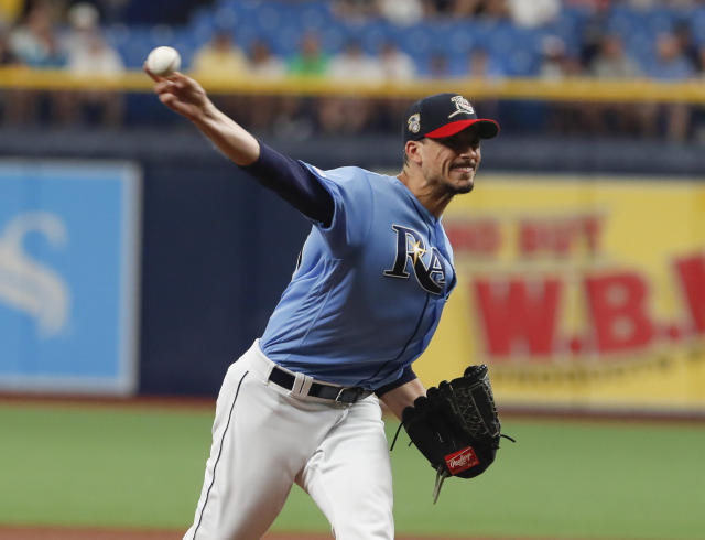Tampa Bay Rays pitcher Charlie Morton works from the mound against the New York Yankees during the first inning of a baseball game Sunday July 7, 2019, in St. Petersburg, Fla. (AP Photo/Scott Audette)