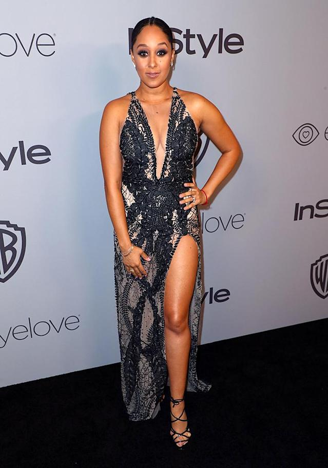 <p>Tamera Mowry attends the InStyle and Warner Bros. party. (Photo: Joe Scarnici/Getty Images for InStyle) </p>