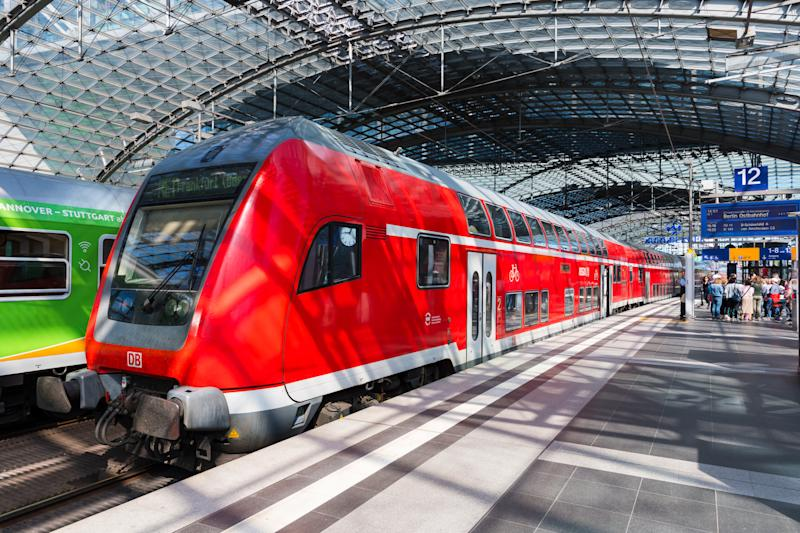Berlin Germany - April 21. 2018: Double decker train at Berlin central train station