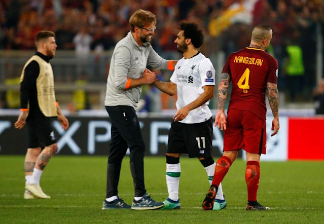 Soccer Football - Champions League Semi Final Second Leg - AS Roma v Liverpool - Stadio Olimpico, Rome, Italy - May 2, 2018 Liverpool manager Juergen Klopp celebrates with Mohamed Salah after the match REUTERS/Tony Gentile