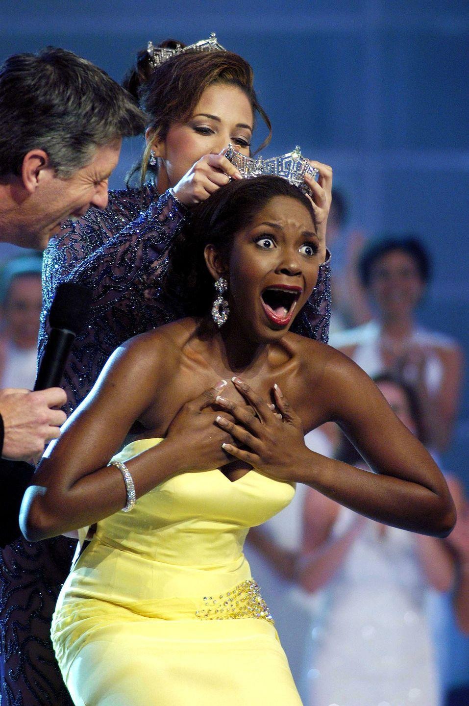 <p>Ericka Dunlap brought a bit of her native Sunshine State with her to the pageant in the form of a canary yellow strapless evening gown. </p>